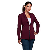 Susan Graver Premier Knit Long Sleeve Shawl Collar Soft Blazer - A257115