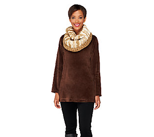 Collection 18 Two-Tone Knit Faux Fur Infinity Scarf
