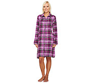 Carole Hochman Woven Plaid Flannel Nightshirt - A257515