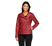 Lisa Rinna Collection Quilted Motorcycle Jacket - A257715