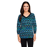 Susan Graver Printed Liquid Knit 3/4 Ruched Sleeve V-Neck Top - A258615