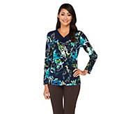 Susan Graver Printed Liquid Knit Top with Sheer Chiffon V-Neck Detail - A261215