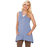 LOGO by Lori Goldstein Knit Vest with Contrast Pocket Detail - A263315