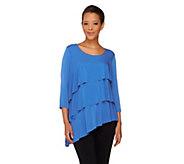 Susan Graver Liquid Knit Asymmetric Hem Tiered Tunic - A265015