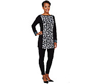 Susan Graver Printed Liquid Knit Bateau Neck Tunic - A269215