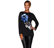 Susan Graver Artisan Placement Print Liquid Knit Long Sleeve Top - A269315