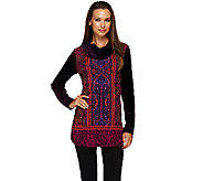 Susan Graver Printed Liquid Knit Tunic with Velvet Sleeves & Cowl Neck - A270315