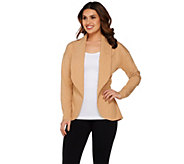 H by Halston Shawl Collar Open Front French Terry Jacket - A274015