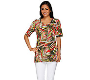 As Is Denim & Co. Palm Printed Elbow Sleeve Knit Tunic - A274715