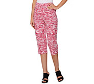 Susan Graver Printed Stretch Woven Zip Front Capri Pants - A275215