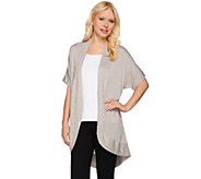 H by Halston Short Sleeve Open Front Cardigan - A275415