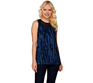 Lisa Rinna Collection Printed Knit Top with Sheer Neckline - A277015