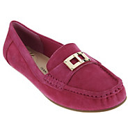 As Is Isaac Mizrahi Live! Suede Moccasin with Lock Hardware - A278615