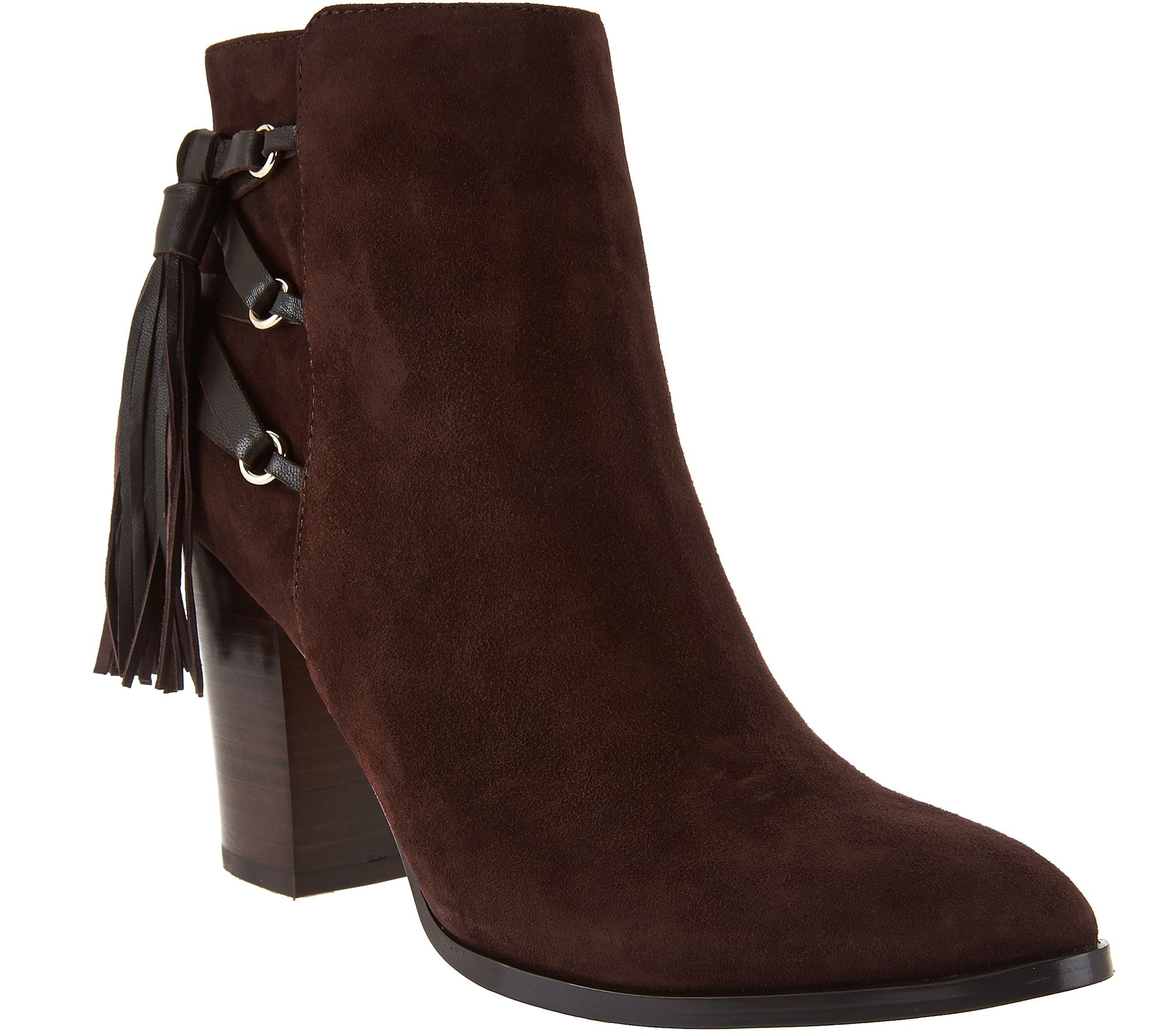 Marc Fisher Suede Fringe Ankle Boots - Kava - A279915