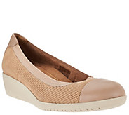 As Is Clarks Artisan Leather Wedge Slip-ons - Petula Sadie - A281215