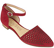 As Is Sole Society Two- Piece Perforated Suede Flats - A283515