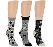 MUK LUKS 3 Pairs Holiday Patterned Boot Socks - A286315