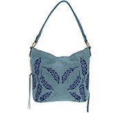 Aimee Kestenberg Pebble Leather Embroidered Hobo- Antigua - A289315
