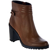 As Is H by Halston Leather Ankle Boots with Block Heel - Cara - A290015