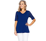 Denim & Co Fit & Flare Stretch Lace Elbow Sleeve Top - A290115