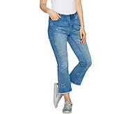 Peace Love World Cropped Jeans w/ Star Pattern Distressing - A290815