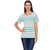 As Is Liz Claiborne New York Short Sleeve Striped Top - A291115