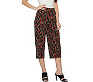 Susan Graver Printed Liquid Knit Wide Leg Crop Pants - A292315