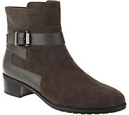 As Is Isaac Mizrahi Live! Suede Ankle Boots with Leather Straps - A293215