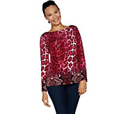 Susan Graver Printed Liquid Knit Long Sleeve Top - A293615