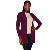 As Is Isaac Mizrahi Live! 2-Ply Cashmere Open Front Cardigan - A295615