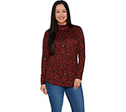 Denim & Co. Heavenly Jersey Animal Print Long Sleeve Mock Neck Tunic - A296215