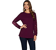 Studio by Denim & Co. French Terry Pullover Top w/ Velvet Detail - A299215