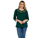Quacker Factory 3/4 Sleeve Spring Holiday Knit T-Shirt w/ Cut-out Detail - A301415