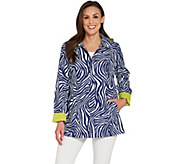 Dennis Basso Printed Water Resistant Jacket with Detachable Hood - A307215