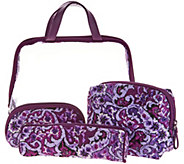 As Is Vera Bradley Iconic Signature Print Four Piece Cosmetic Set - A311315