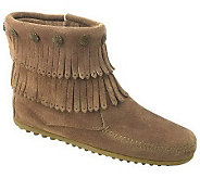 Minnetonka Womens Double Fringe Side-Zip Boots - A320115