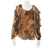 M by Marc Bouwer Animal Print Top with Ruffle Sleeve - A228316