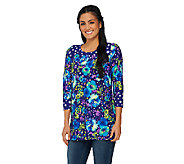 Susan Graver Printed Liquid Knit Scoop Neck Tunic with 3/4 Sleeves - A231516