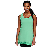 LOGO by Lori Goldstein Knit Tank Top with Lace Trim - A231816