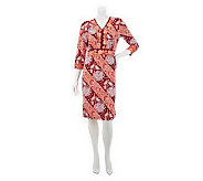 Linea by Louis DellOlio Floral Print 3/4 Sleeve V-neck Dress - A232516