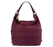 As Is B. Makowsky Pebble Leather Zip-Top Hobo - A236916