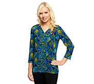 Susan Graver Liquid Knit Printed V-Neck Top with 3/4 Sleeves - A237116