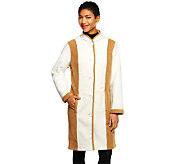 Susan Graver Bonded Fleece Button Front Colorblock Coat - A237716