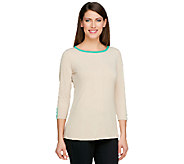 Susan Graver Liquid Knit Bateau Neck Top with Contrast Trim - A251316