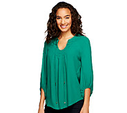 G.I.L.I. 3/4 Sleeve Woven Crepe Blouse with Neck Detail - A252116