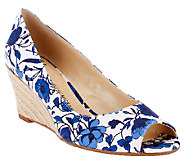 Isaac Mizrahi Live! Floral Printed Peep Toe Canvas Wedges - A253016