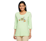 Quacker Factory Summertime Embroidered 3/4 Sleeve T-shirt - A253116
