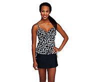 DreamShaper by Miraclesuit Wendy Black & White Croc Side Shirred Tankini - A253516