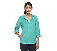 Denim & Co. Active Knit Terry Zip Front Jacket w/ Hood - A254316