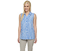 Susan Graver Printed Sleeveless Button Front Blouse - A254416